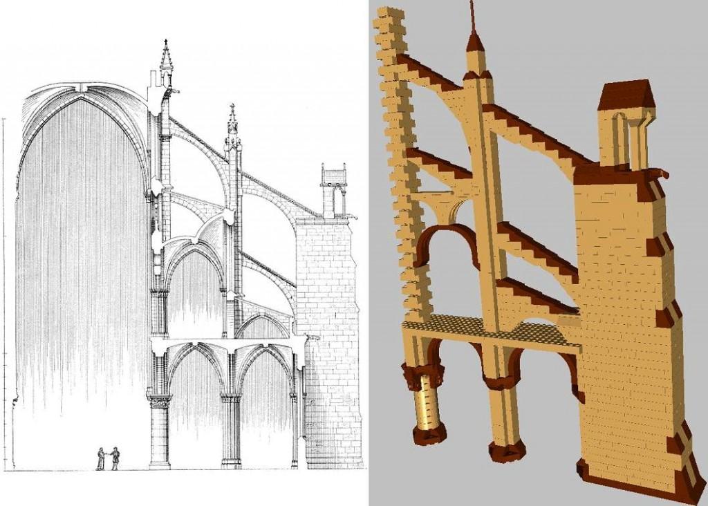 Sección virtual de los arbotantes de Notre Dame