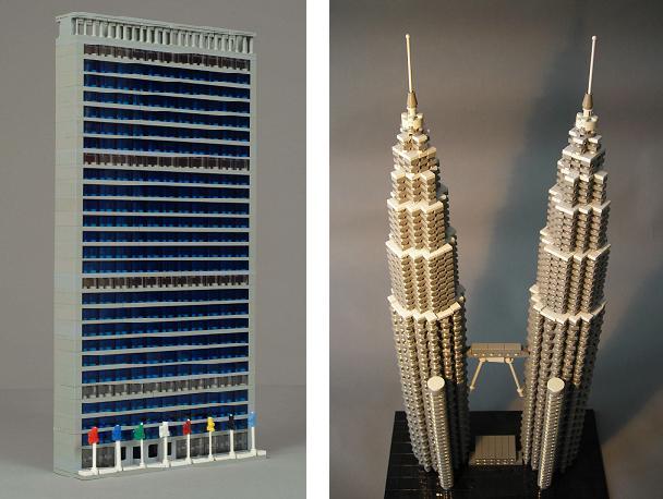 Micro edificios con LEGO: Edificio de la ONU y Torres Petronas, por Torgugick