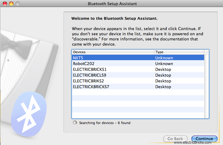 Conectar NXT por Bluetooth a MAC: Bluetooth Setup Assistant