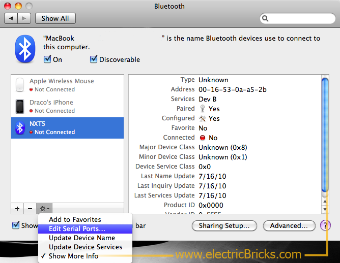 Conectar NXT por Bluetooth a MAC: Edit Serial Ports