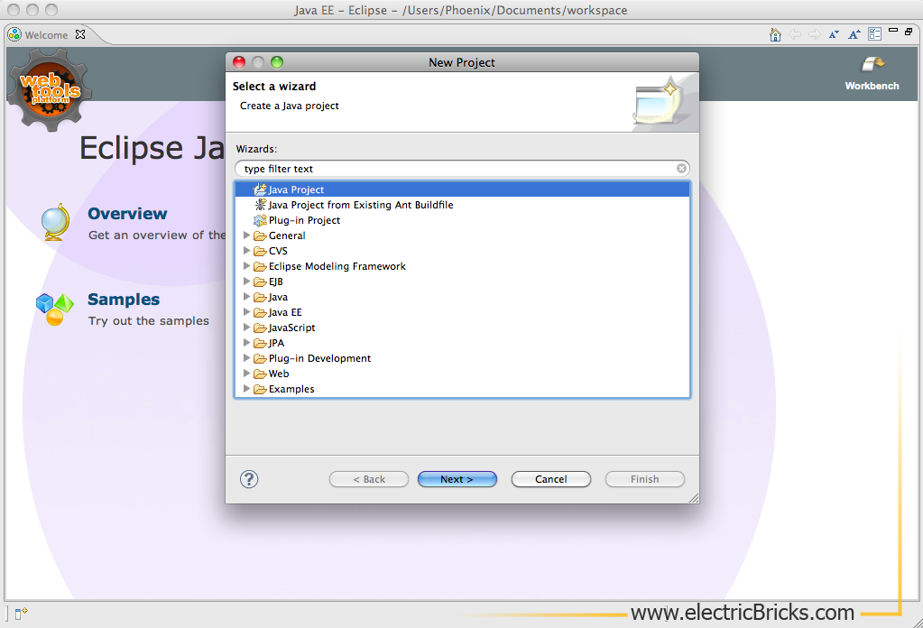 Eclipse para LeJOS en Mac: Java Project