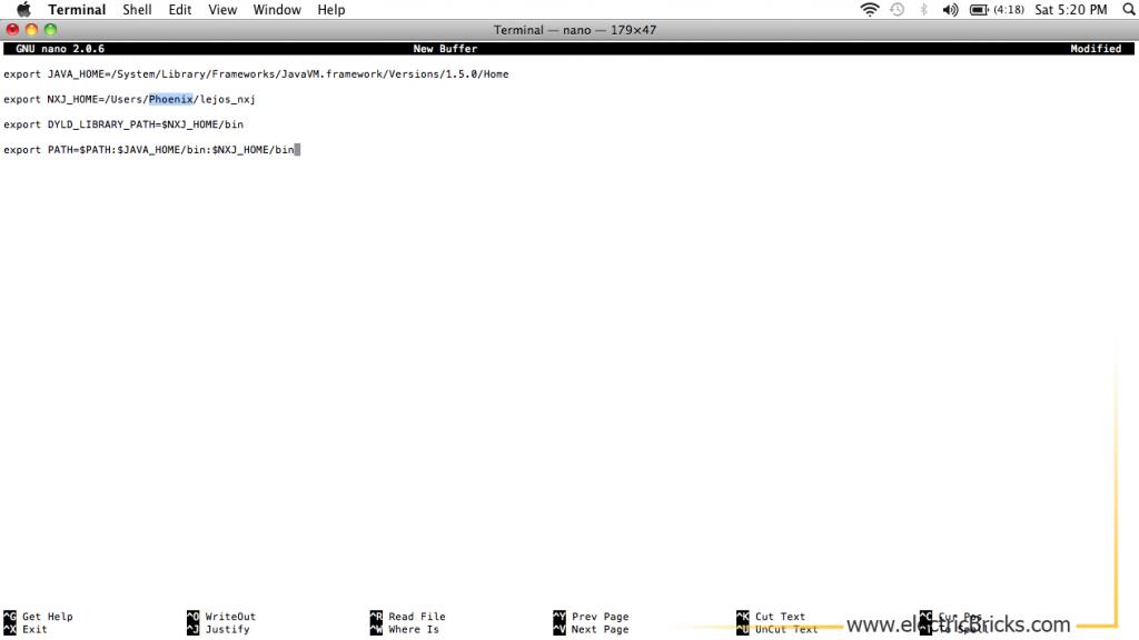 Instalar LeJOS en MAC OS X: Modif profile