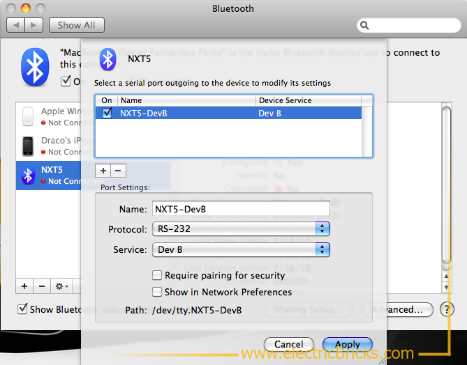 Conectar NXT por Bluetooth a MAC: Port Config