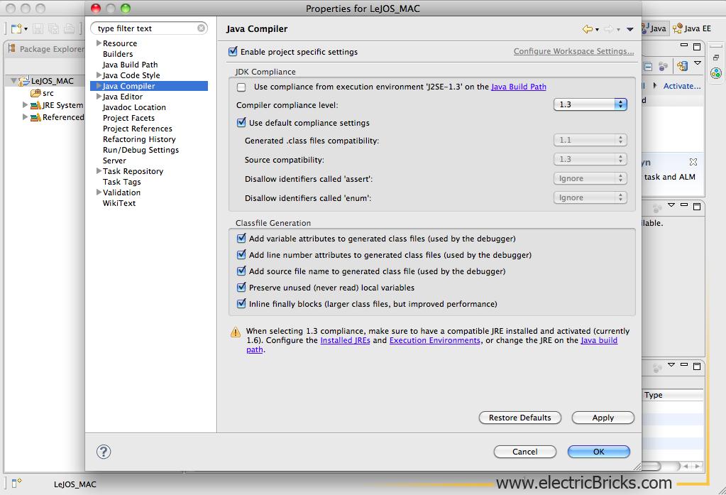 Eclipse para LeJOS en Mac: compiler