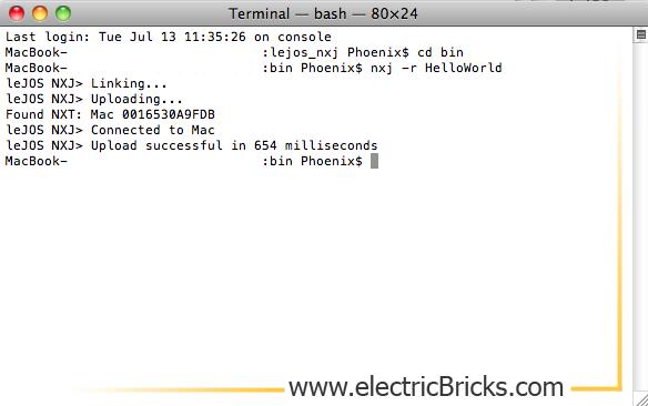Instalar LeJOS en MAC OS X: consola nxj