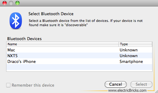 Conectar NXT por Bluetooth a MAC: select device
