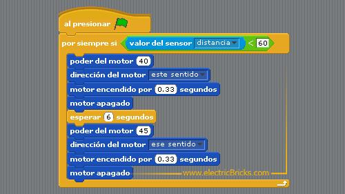 Paso nivel con Power Functions WeDo y Scratch: Programa Paso a Nivel