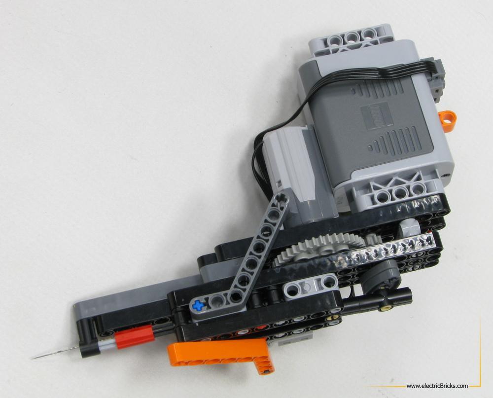 Maquina de tatuaje LEGO, vista lateral posterior