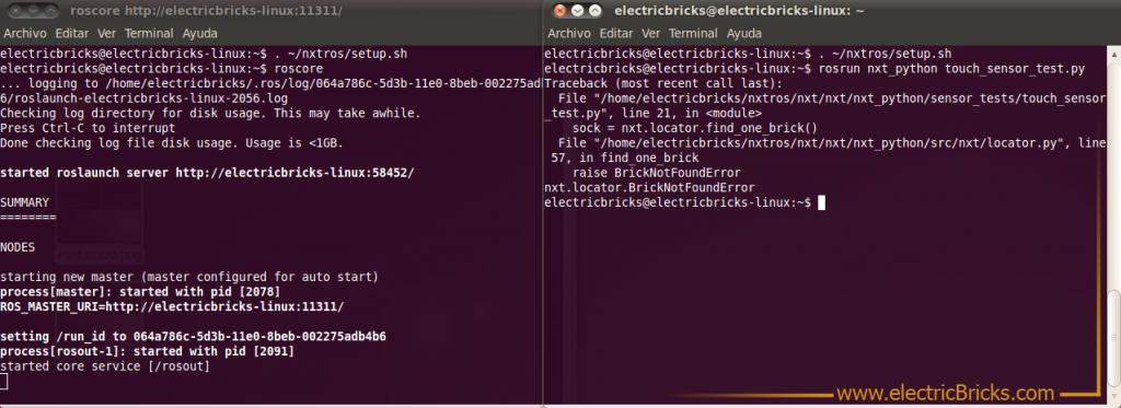 ROS Robot Operating System NXT: Pantallazo-error