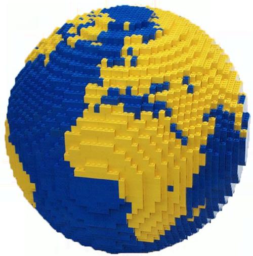 Representación del globo terráqueo en LEGO